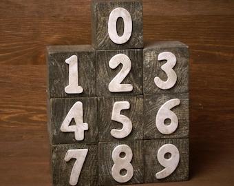 Handmade Shabby Chic Wooden Number Blocks