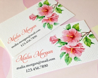 Hibiscus Business Cards, Calling Cards - Set of 50