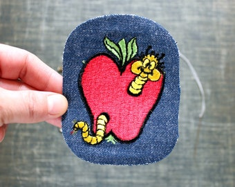 apple with worm patch . 1970s vintage patch . embroidered denim iron on patch, anthropomorphic animal patch