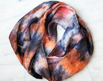 Multicolored Women's Silk Shibori Tie Dyed Scarf - 1018
