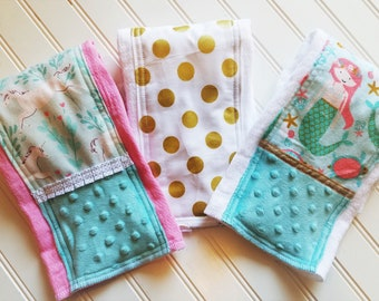 Baby-Burp-Cloth-Girls-Mermaids-Unicorns-Gold-Dots-Minky-Dot-Diaper-6 Ply-Shower-Nursery-Decor-Newborn-Monogrammed-Personalized-Gifts