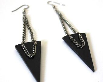 Black Triangle & Silver Chain Geometric Earrings