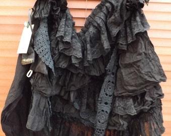RITANOTIARA OSFA black jet bustle shrug cape vintage lace cotton linen Victorian Gothic mourning steampunk goth Edwardian  made to order
