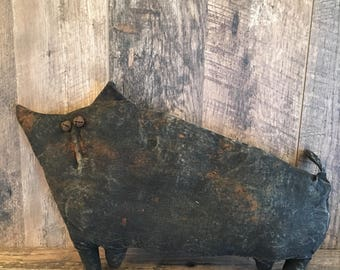 Primitive Folk Art Black Cat Doll