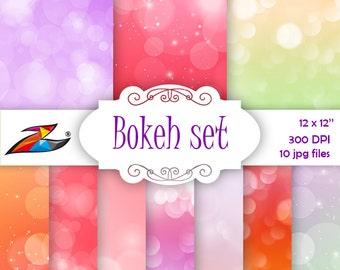 Sale Colorful bokeh digital paper red purple orange background spring digital paper commercial use bokeh textures