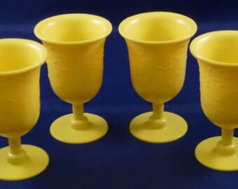 Vintage Plastic Yellow Children's Pretend Play Goblet Glasses, 1960s (Qty 4)