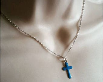Blue Cross Necklace and silver chain