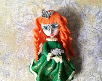 """Polymer clay doll keychain """"Charlotte"""""""