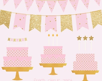 Pink and Gold Cake Banner Clip Art