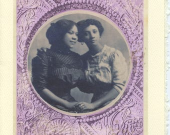Circle Of Love: Vintage LGBTQ+ Card mother's day card, daughters card to mother, Black girlfriends engagement card, intersectional love card