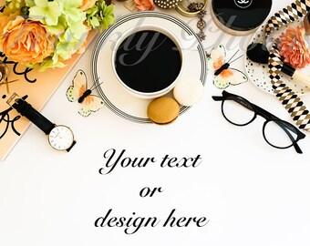 Black, Cream & Peach Desk Styled Stock Photo / Styled Stock Photography / Flatlay / Lifestyle Image / Mockup / Frankly Photos File #44