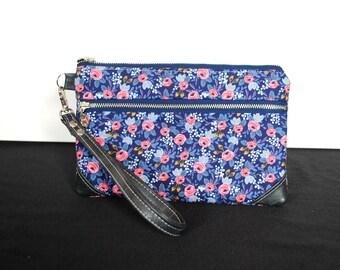 Rifle Paper Company Floral Gray vinyl Double Zip Pouch Wristlet Clutch