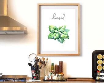 Herbs Kitchen Decor, Basil, Herbs Decor Print, Watercolor Print, Natural Kitchen Art, Kitchen Printable, Herbs, Kitchen Decor, Basil Poster