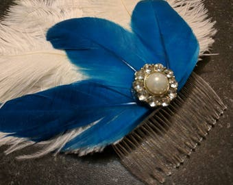 Beautiful Handmade Ostrich and Goose Feather Bridal Hair clip