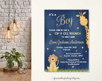 Its a Boy Sip and See Invitation, Sip & See Boy Invite, Sip n See Boy, Sip See Baby Shower Invite, Jungle Themed Sip n See Party