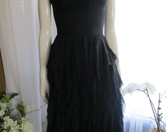 1950s Ladies Black Silk Chiffon Layered Skirt PARTY DRESS----no label