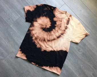 Black fire tie dye shirt size mens L large tie dye bleached acid burn effect one of a kind tie dyed tshirt firedye steezy tie dye trippy