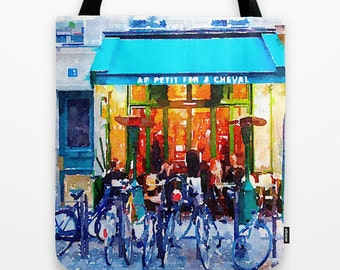 Bright Turquoise, Yellow, and Blue Paris Cafe Watercolor Print Tote bag. Colorful Watercolor Paris Street Scene with Cafe and Bicycles.