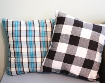 Plaid Pillow Cover, 16x16, 18x18, 20x20, Aqua Plaid Pillow Cover, Buffalo Plaid, Black and White Check Pillow, Christmas Pillow Cover