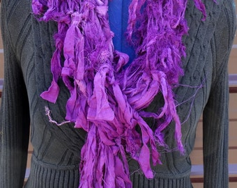 Purple Sari Silk Hand Knitted Scarf Fair Trade OOAK