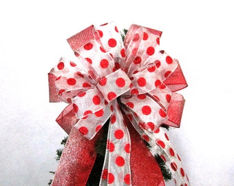 Christmas Bow / Tree Topper Bow / Wreath Bow /  Red Bow / Red & Silver Polka Dot Bow