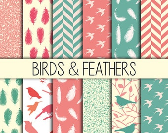 Birds & Feathers - Instant Download - Set of 12 - 12x12 inch - Digital Paper Pack - Scrapbooking, Web design, Card making