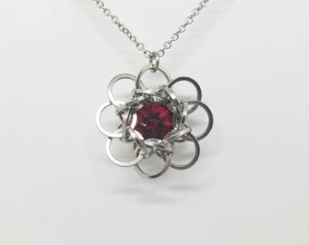 Celtic Rosette 9 Stainless Steel Chainmaille Pendant with Siam Red Swarovski Rivoli