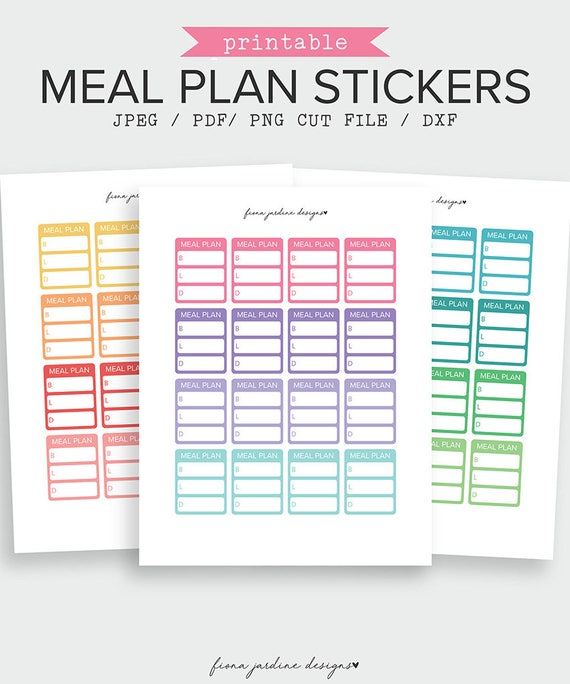 printable meal planner sticker full box planner sticker meal planning sticker printable planner sticker meal tracker from fionajardinedesigns on etsy