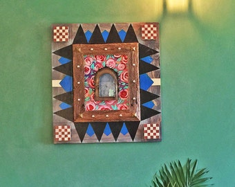 Amidst the Roses - Framed Mexican Tin Nicho