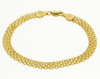 14k Pressed Box Mesh Link Chain Bracelet Gold 6.75""