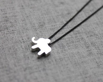 Cute elephant  with Simple Black chain Necklace - S2091