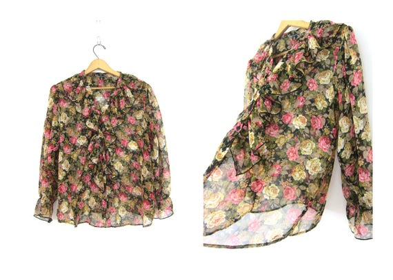 Sheer Floral Blouse 1990s Ruffle Top Long Sleeve Boho See Through Shirt Floral Print Pattern Dress Shirt Womens Size Large