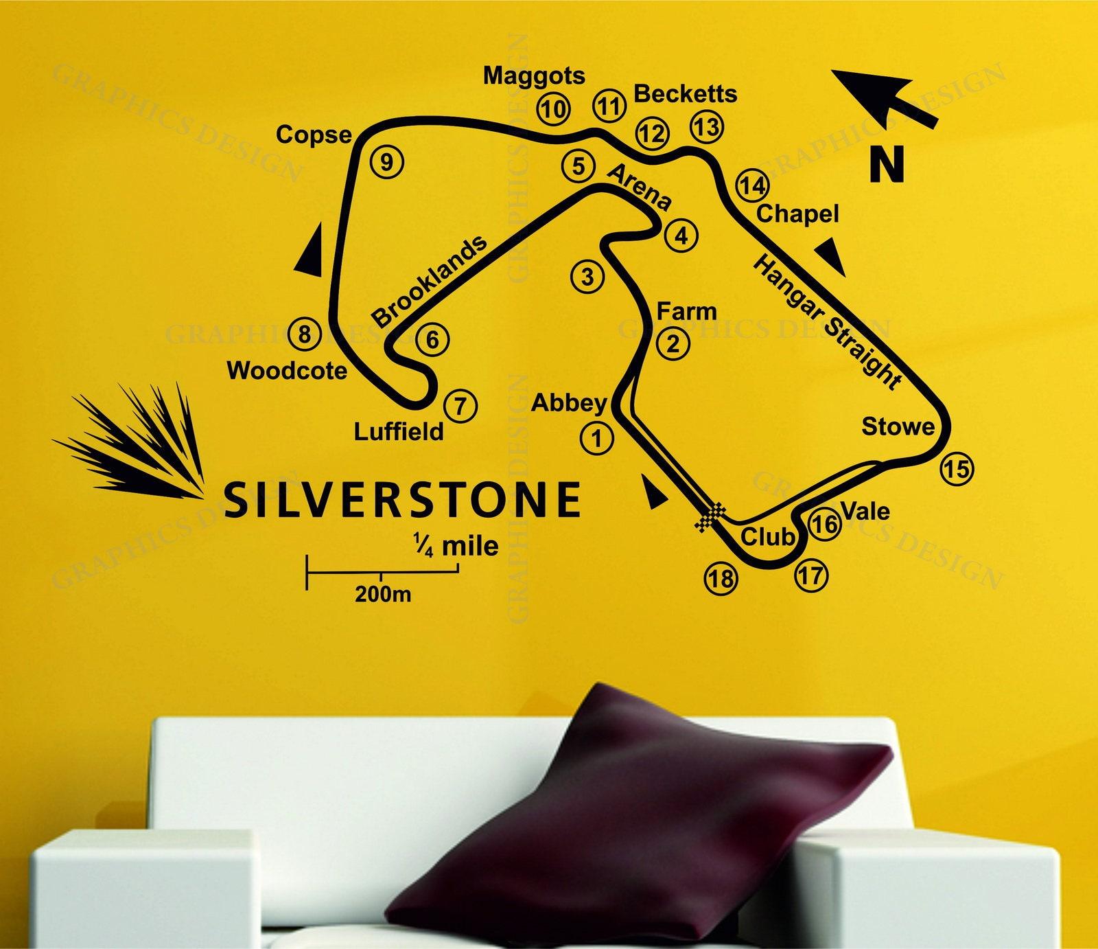 Silverstone Race Track Circuit Map F1 MOTO GP Decor Art Vinyl Wall ...