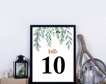 Greenery Watercolor Table Number 1-30, Instant Download, Green Foliage, Spring DIY Printable Table Numbers - Delilah