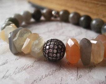 Moonstone Bracelet, Labradorite Gemstone, Herkimer Diamond,  Peach Gray, Natural Nugget, candies64