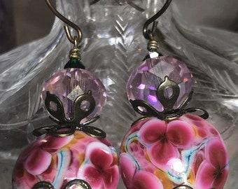 Artisan jewelry Artisan Lampwork, Crystals, and Brass Ooak Hook Earrings AURORALFLORALS