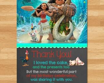 Moana Thank You Card - Chalkboard - Moana Thanks - Disney Princess Thank You - Moana Printables - Moana Birthday Party - Moana Party Favors