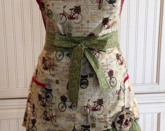 Women's full apron Paris theme black Burgundy cream green ruffled cotton shabby chic Paris toile bikes flowers long ties posh girl apron