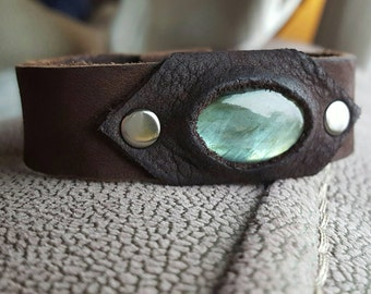 Genuine leather and labradorite cuff bracelet.