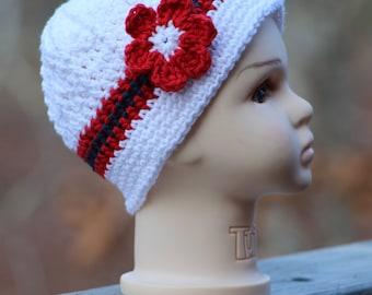 Baby hat, Crochet photo prop,  Patriotic baby Sun hat,  Baby crochet hat, crochet hat, baby girl hat, 4th of July hat, Memorial day