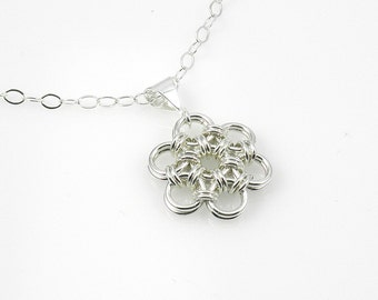 Silver Chain Mail Flower Necklace