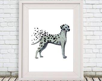 Dalmatian Print, Dalmatian drawing, dalmatian artwork, dalmatian poster, dalmatian painting, whymsical poster, black and white, whymsical