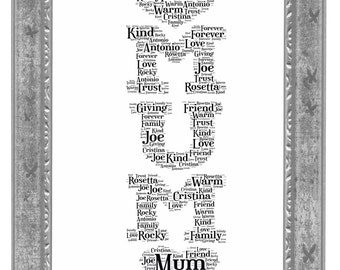 Personalised Mother's Day Gift, Word Art Print, Gift for Mum, Birthday, Personalised Gift, Love Mum, Mothers Love