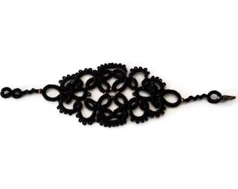 Black lace tatted cuff bracelet/tatted bracelet/lace bracelet/steampunk bracelet/lace jellewery/cuff bracelet
