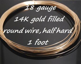 Made in USA 18 gauge 14K gold filled round wire,half hard, one foot