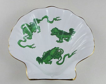 Wedgwood - Chinese Tigers - Green - Bone China - Shell Dish - Scalloped - Rare - Vintage - Oriental - Dragons - Made in England