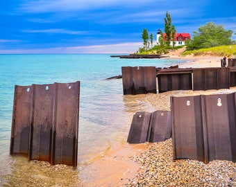 Lighthouse Photography, Lighthouse Wall Art, Art Print, Northwest Michigan, Point Betsie Lighthouse, Lake Michigan, Great Lakes, Frankfort