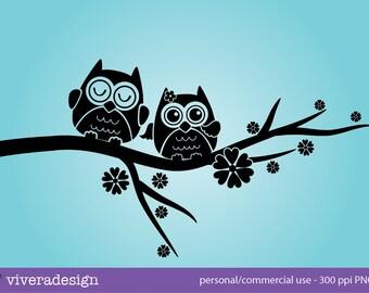 Instant Download - Love Owl in Solid Black - Digital Clip Art