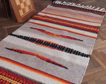 Handwoven wool rug with ornaments, stylish home decor rug, kilim rug, ornamental rug, bohemian rug, tribal rug, striped handwoven