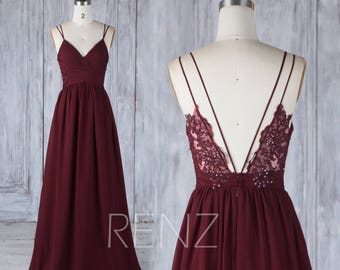 Bridesmaid Dress Wine Chiffon Dress,Wedding Dress,Spaghetti Strap Prom Dress,Ruched V Neck Maxi Dress,Lace Sequin A-line Party Dress(H549A)
